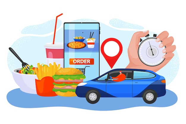 Modern technology device online order food fast delivery service concept smartphone application flat vector illustration, isolated on white. internet web mobile phone app supply food, hand hold watch.