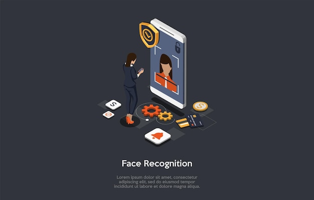 Современные технологии, разблокировка устройства, распознавание лиц, концепция разблокировки лица. женский персонаж получает доступ к функциям и настройкам на смартфоне с помощью распознавания лиц.