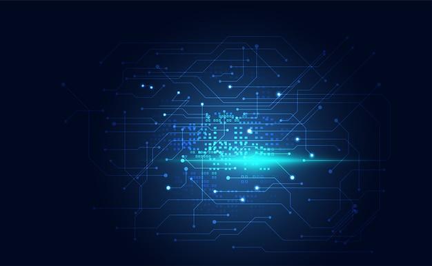 Modern technology digital circuit communication on blue