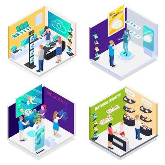 현대 기술 전시실 가상 현실 대화 형 데모 전자 제품 홍보 스탠드가있는 4 개의 아이소 메트릭 구성 프리미엄 벡터