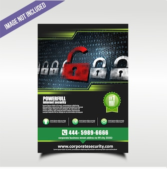 Modern technology flyer with black and green color theme