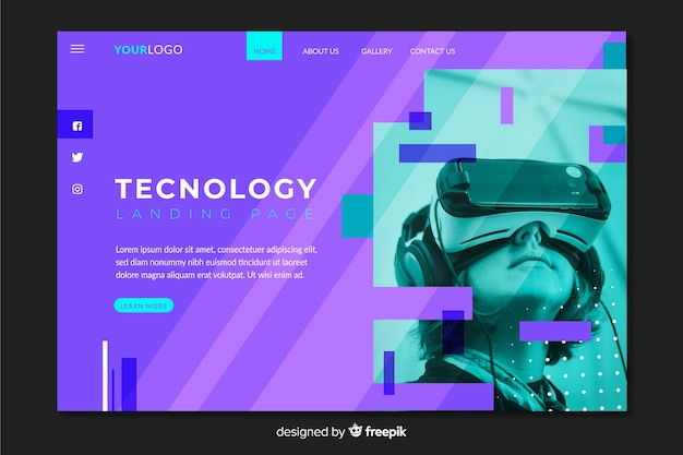 Modern technology landing page with photo
