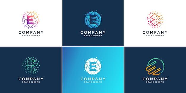 Modern technology letter e logo collection