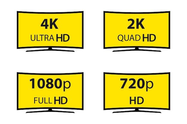 현대 기술 표지판입니다. 4k 울트라 hd, 2k 쿼드 hd, 1080p 풀 hd 및 720p hd. 벡터 일러스트 레이 션 기호 모니터 디스플레이 레이블