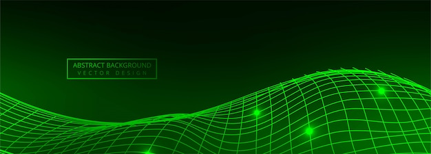 Modern technology wire green wave banner background