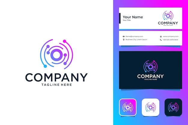 Современные технологии с дизайном логотипа буква o и визитной карточкой