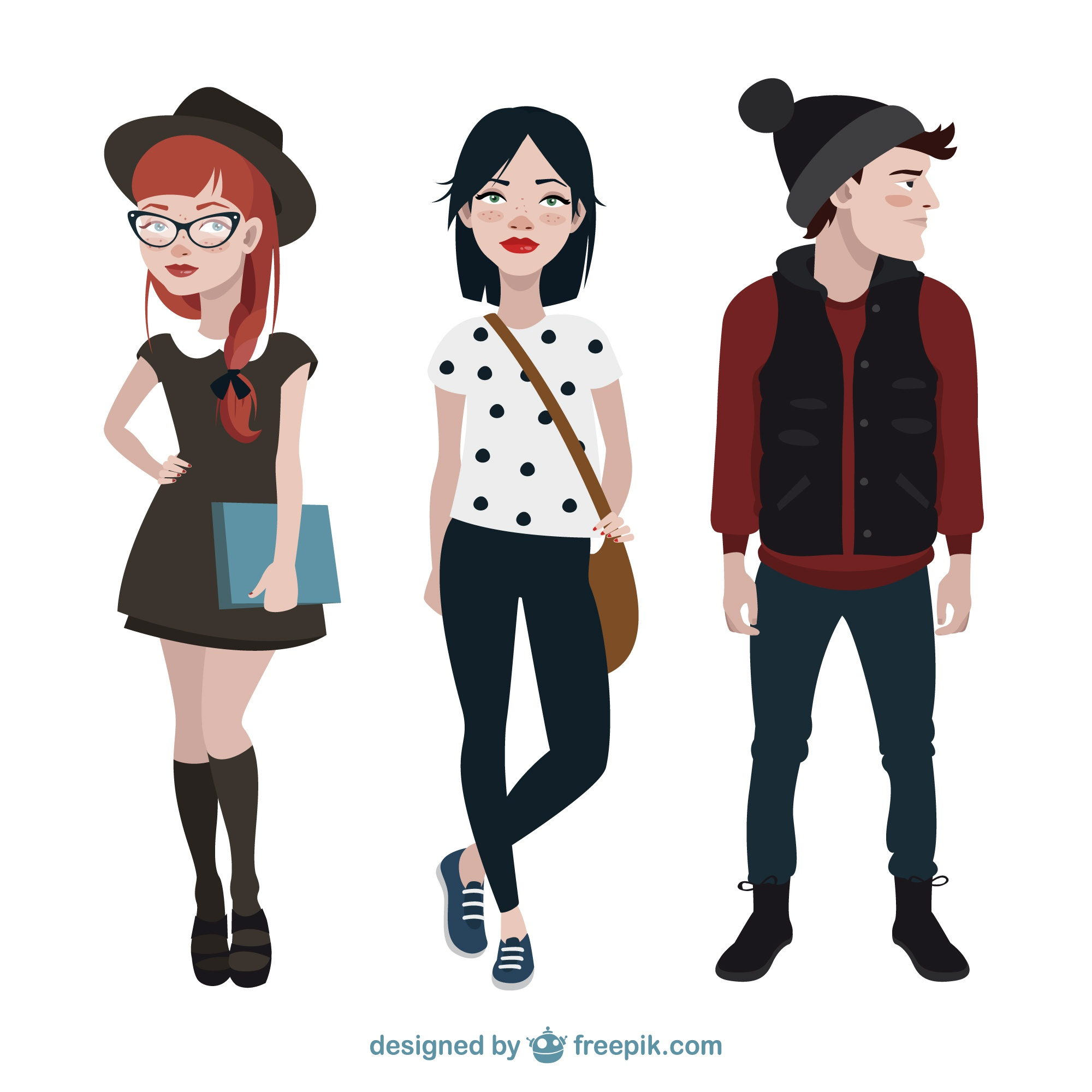 Modern teenagers characters collection