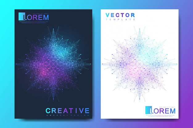 Modern template for brochure, leaflet, flyer, cover, banner, catalog, magazine, or annual report in a4 size. futuristic science and technology design. geometric graphic background molecule