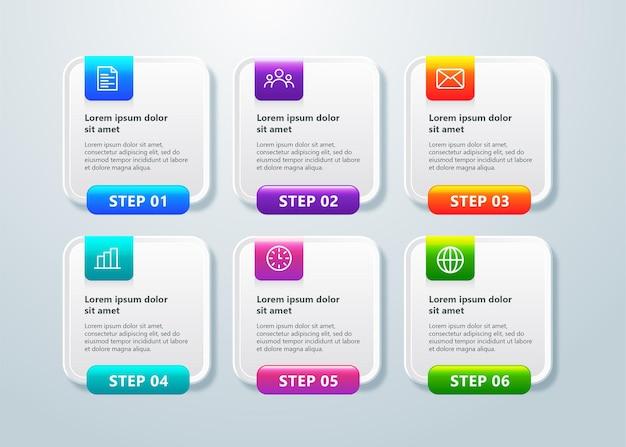 Современный шаблон бизнес-инфографики с 6 шагами