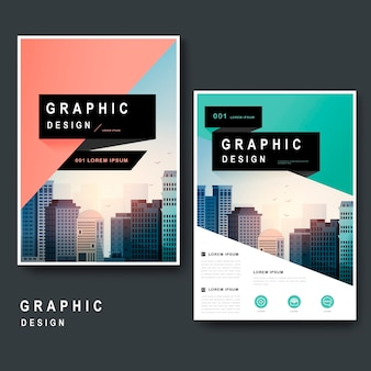 Modern template design with urban landscape and geometric elements