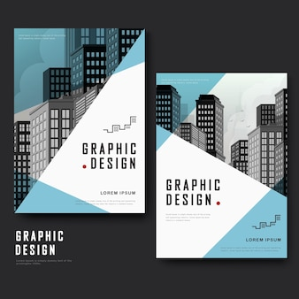 Modern template design with urban landscape and triangle elements