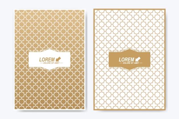 パンフレット、リーフレット、チラシ、広告、カバー、雑誌、または年次報告書のモダンなテンプレート。 a4サイズ。イスラムのデザイン本のレイアウト。イスラム風の抽象的な黄金のプレゼンテーション。
