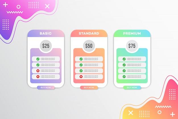 モダンなテンプレート価格表のデザイン