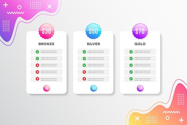 Современный дизайн прайс-листа шаблона