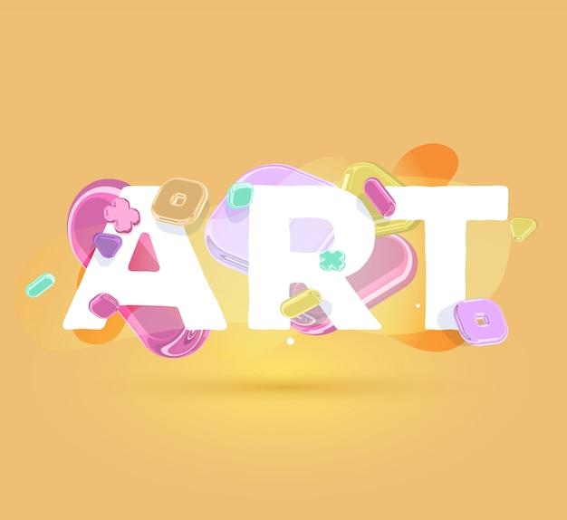 明るい水晶要素と影とオレンジ色の背景に大きなワードアートのモダンなテンプレート。