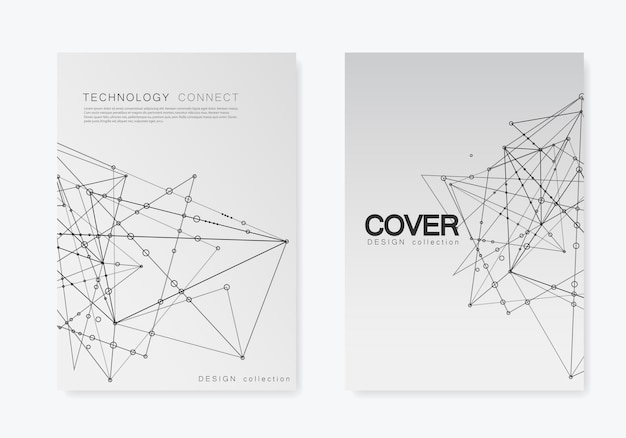 Modern  templates for brochure cover in a4 size. polygonal space background with connecting dots and lines. abstract structure