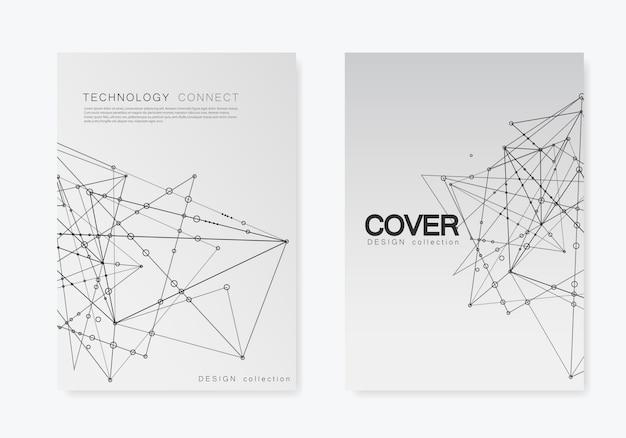 A4サイズのパンフレットカバー用の最新のテンプレート。点と線を接続すると多角形空間の背景。抽象構造