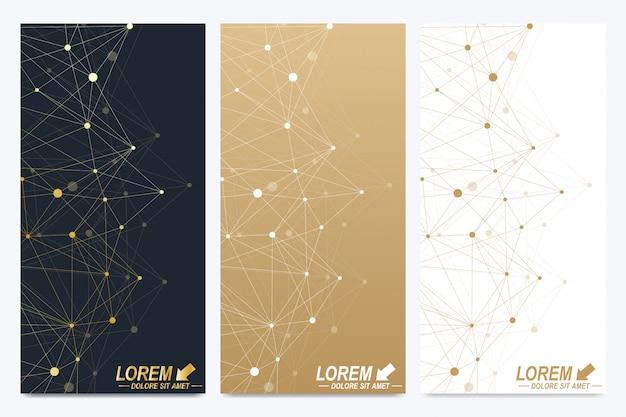 Modern templates. geometric abstract presentation. molecule, science, technology. golden cybernetic dots. lines plexus.