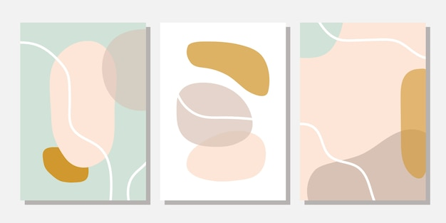 Modern templates with abstract shapes in pastel colors.