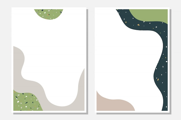 Modern templates with abstract shapes and terrazzo texture.