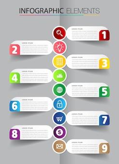 Modern text box template infographics banner timeline Premium Vector