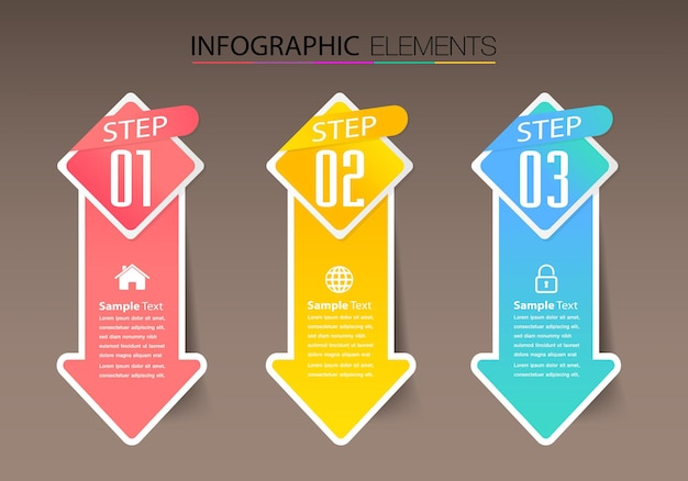 Modern text box template infographics banner timeline