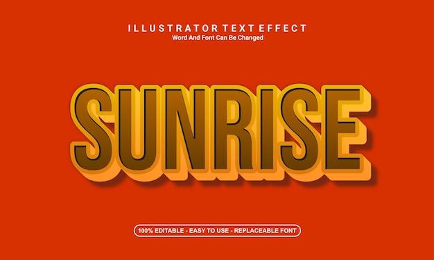 Modern text effect design sunrise