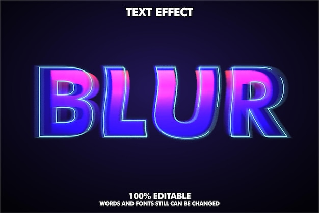 Modern text style editable blur text effect