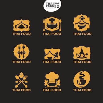 料理ビジネスおよび企業のモダンなタイ料理ゴールドロゴテンプレート