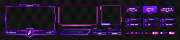 The modern theme for twitch screen panel . the overlay frame set design template for games streaming. vector violet and pink futuristic design.