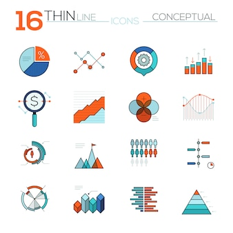 Modern thin line flat vector icons set