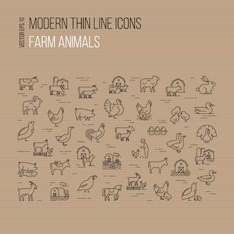 Modern thin line icons set of farm animals isolated