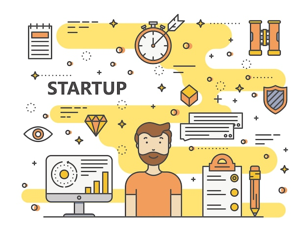 Modern thin line startup concept illustration