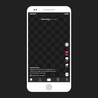 スマートフォンの最新のtiktokインターフェイス