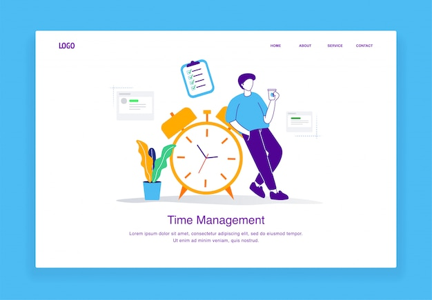 Modern  time management illustration concept of men drink coffee while leaning on the alarm clock for landing page template