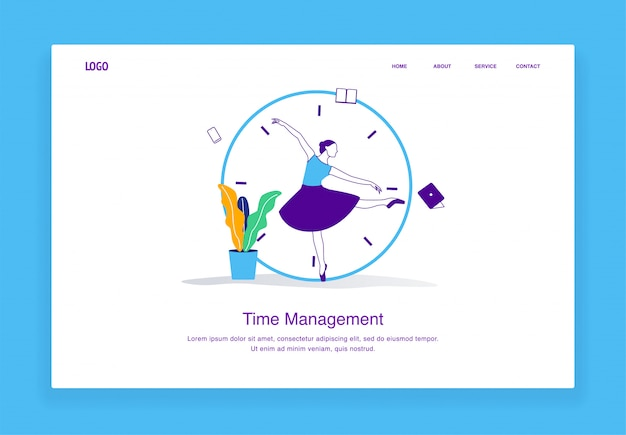 Modern  time management illustration concept of multitasking women chasing deadlines with ballerina concept for landing page template