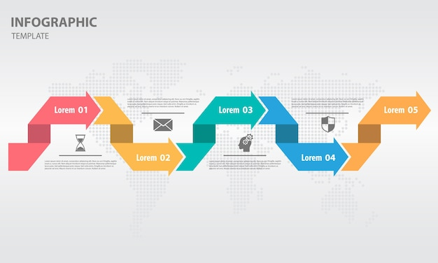 Modern timeline infogaphic with 5 options