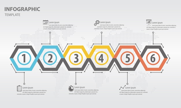 Modern timeline infogaphic with hexagon 6 options