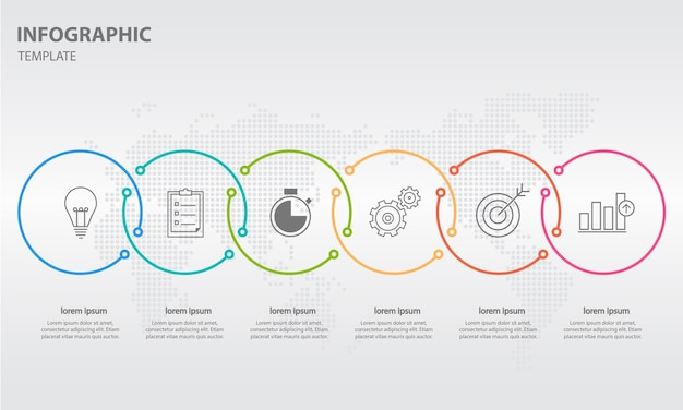 Modern timeline infographic 6 options