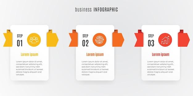 最新のタイムラインインフォグラフィックテンプレート3ステップ