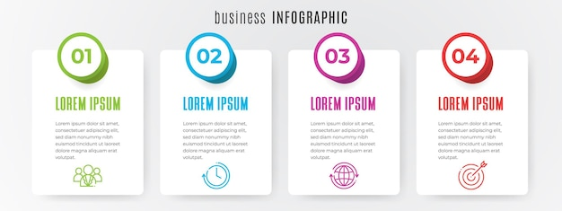 最新のタイムラインインフォグラフィックテンプレート4ステップ