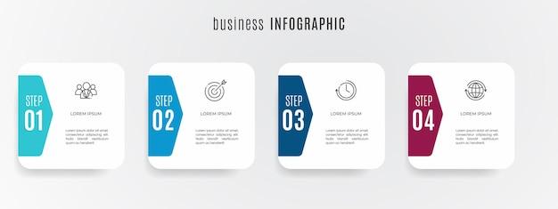 Modern timeline infographic template 4 steps