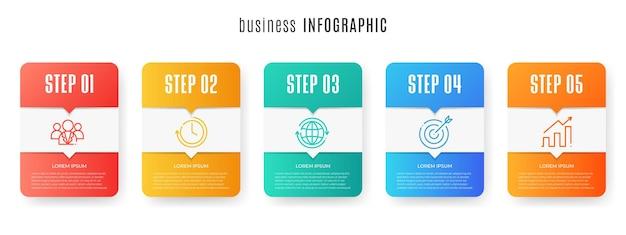 最新のタイムラインインフォグラフィックテンプレート5ステップ