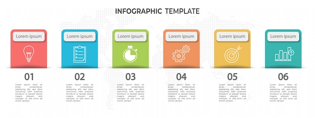 Modern timeline infographic template 6 options.