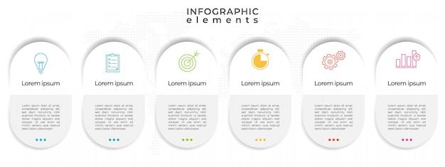 モダンなタイムラインインフォグラフィックテンプレート6オプション。