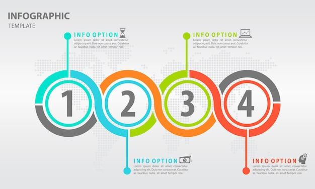 4つのオプションを備えた最新のタイムラインインフォグラフィック