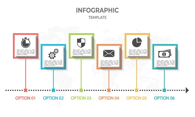 Modern timeline infographic with square 6 options.