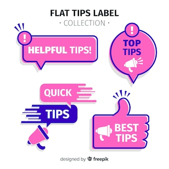 Modern tips label collection with flat design
