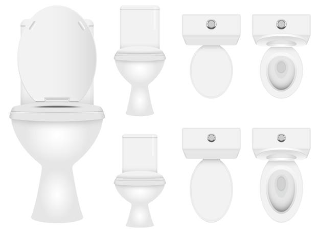 흰색 배경에 고립 된 현대 화장실