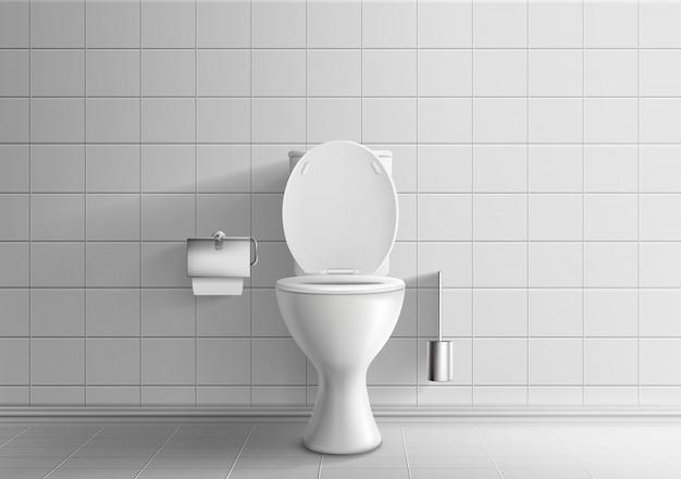 Современный интерьер комнаты туалета 3d реалистичные вектор макет с кафельными стенами и полом